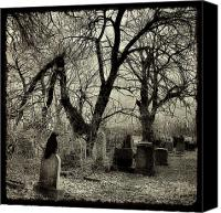 Trees Digital Art Canvas Prints - Crow Waits On Tombstone Canvas Print by Gothicolors With Crows