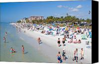 Sun Tan Canvas Prints - Crowd on a Summer Beach in Ft Meyers Florida Canvas Print by ELITE IMAGE photography By Chad McDermott