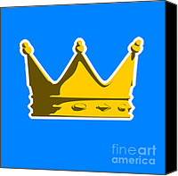 King Digital Art Canvas Prints - Crown Graphic Design Canvas Print by Pixel Chimp