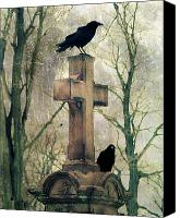 Eerie Canvas Prints - Crows And Old Cross Canvas Print by Gothicolors With Crows