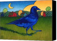 Crow Painting Canvas Prints - Crows Run Canvas Print by Stacey Neumiller