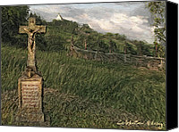 Crucifix Mixed Media Canvas Prints - Crucifix by the roadside Canvas Print by Nikolay Vakatov