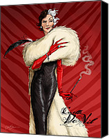Black Digital Art Canvas Prints - Cruella De Vil Canvas Print by Christopher Ables