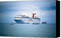 Grand Cayman Canvas Prints - Cruise Ship on the Ocean Canvas Print by Inti St. Clair