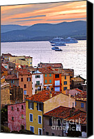 Travel Destination Canvas Prints - Cruise ships at St.Tropez Canvas Print by Elena Elisseeva