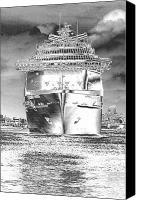 Black And White Digital Art Digital Art Canvas Prints - Cruise Ships in Chrome Canvas Print by Carol Groenen
