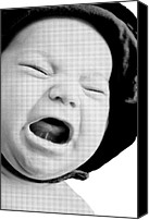 Susan Leggett Digital Art Canvas Prints - Crying Baby in Halftone Black and White Canvas Print by Susan Leggett