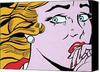 Lichtenstein Canvas Prints - Crying Girl Canvas Print by Luis Ludzska