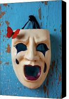 Crying Canvas Prints - Crying mask and red butterfly Canvas Print by Garry Gay