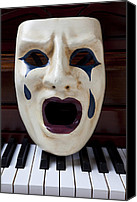 Theater Canvas Prints - Crying mask on piano keys Canvas Print by Garry Gay