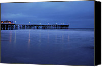 Beach Photograph Canvas Prints - Crystal Pier Blue Canvas Print by Kelly Wade