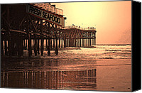 San Diego Mixed Media Canvas Prints - Crystal Pier  San Diego California Canvas Print by Richard Shelton
