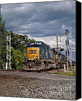 Csx Canvas Prints - CSX Train Headed West Canvas Print by Pamela Baker