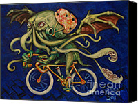 Water Cycle Canvas Prints - Cthulhu on a Bicycle Canvas Print by Ellen Marcus