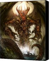 Concept Digital Art Canvas Prints - Cthulhu Rising Canvas Print by Alex Ruiz