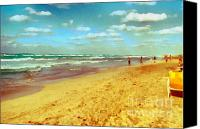 Gold Lame Canvas Prints - Cuba beach Canvas Print by Odon Czintos