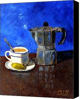 Italian Bakery Canvas Prints - Cuban Coffee and Lime Blue Canvas Print by Maria Soto Robbins