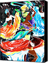 Contemporary Dance Painting Canvas Prints - Cuban Dancers - Magical Rhythms... Canvas Print by Elisabeta Hermann