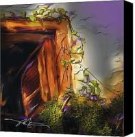 Cuba Painting Canvas Prints - Cuban Shuttered Window Canvas Print by Bob Salo