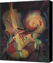 Classical Musical Art Canvas Prints - Cubist Play - Abstract Cello Canvas Print by Susanne Clark