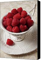 Seasonal Canvas Prints - Cup full of raspberries  Canvas Print by Garry Gay