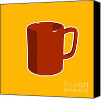 Coffee Canvas Prints - Cup of Coffee Graphic Image Canvas Print by Pixel Chimp