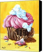 Food Painting Canvas Prints - Cupcake Canvas Print by Maryn Crawford