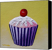 Cupcake Canvas Canvas Prints - Cupcake On Yellow Canvas Print by John  Nolan
