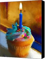 Simple Painting Canvas Prints - Cupcake With Candle Canvas Print by Jai Johnson