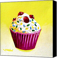 Cupcake Canvas Canvas Prints - Cupcake With Cherries Canvas Print by John  Nolan