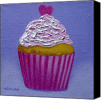 Cupcake Canvas Canvas Prints - Cupcake With Heart Canvas Print by John  Nolan