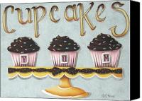 Cake-stand Canvas Prints - Cupcake Yum Canvas Print by Catherine Holman