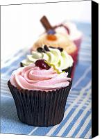Junk Canvas Prints - Cupcakes on tablecloth Canvas Print by Jane Rix