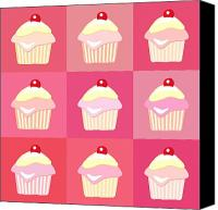 Decorated Canvas Prints - Cupcakes pop art  Canvas Print by Jane Rix
