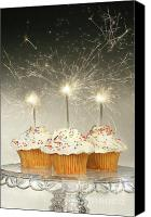 Wish Canvas Prints - Cupcakes with sparklers Canvas Print by Sandra Cunningham