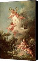 Putti Painting Canvas Prints - Cupids Target Canvas Print by Francois Boucher