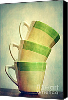 Coffee Cup Canvas Prints - Cups Canvas Print by Kristin Kreet