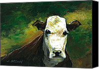 John Brown Canvas Prints - Curious Cow Canvas Print by John Brown