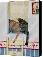 Stripped Cat Canvas Prints - Curiousity Canvas Print by Melody Allen