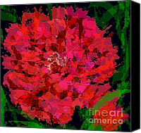 Green Canvas Prints - Curly Carnation Canvas Print by Navo Art