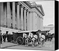 Horse Teams Canvas Prints - Currency Wagons for United States Treasury 1906 Canvas Print by Padre Art