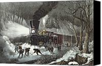 Stop Canvas Prints - Currier and Ives Canvas Print by American Railroad Scene