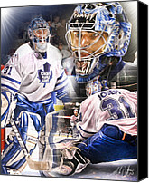 Hockey Goalie Canvas Prints - Curtis Joseph Collage Canvas Print by Mike Oulton