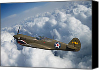 Warbird Photo Canvas Prints - Curtiss P-40 Warhawk Canvas Print by Adam Romanowicz