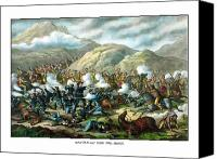 Civil War Painting Canvas Prints - Custers Last Stand Canvas Print by War Is Hell Store