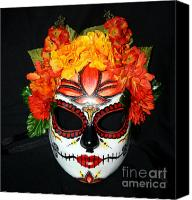 Mexican  Sculpture Canvas Prints - Custom Sugar Skull Mask 2 Canvas Print by Mitza Hurst
