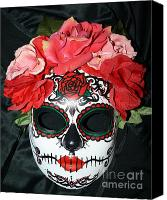 Mexican  Sculpture Canvas Prints - Custom Sugar Skull Mask Canvas Print by Mitza Hurst