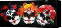 Mexican  Sculpture Canvas Prints - Custom Trio Sugar Skull Masks Canvas Print by Mitza Hurst