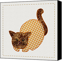Kittens Mixed Media Canvas Prints - Cute Country Style Quilt Cat Canvas Print by Tracie Kaska
