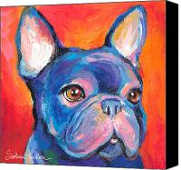 French Bulldog Canvas Prints - Cute French bulldog painting prints Canvas Print by Svetlana Novikova